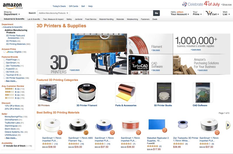 Amazon launches a new 3D printer store